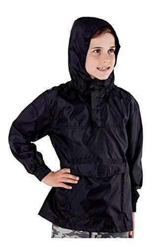 Pro Climate Kinder Jungen Mädchen Hell Regenjacke Mantel mit Kapuze Pac Auswärts Wasserabweisend Mac Sommer - Schwarz, 4-5