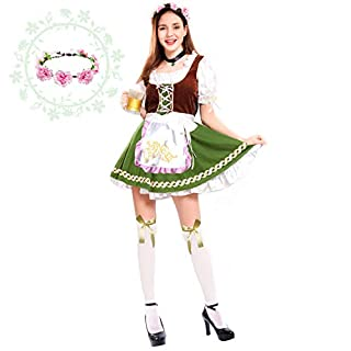 Spooktacular Creations Women's German Oktoberfest Costume Set with Rose Headband for Halloween Dress Up Party and Beer Festival (Medium)