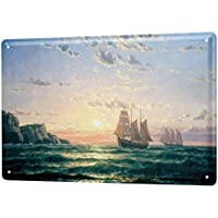 Cartel De Chapa Decoración Marítima rocas de la flota Letrero Decorativo 20X30 cm