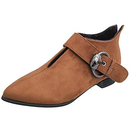 Spitzschuh-Schuhe der Frauen Gürtelschnalle Martin Stiefel Damen Feste Stiefeletten