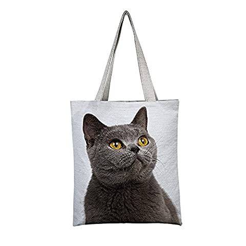 Fmeida Womens Reusbale Shopping Bag Kitty Canvas Shoulder Tote Shopper Bag (White7)