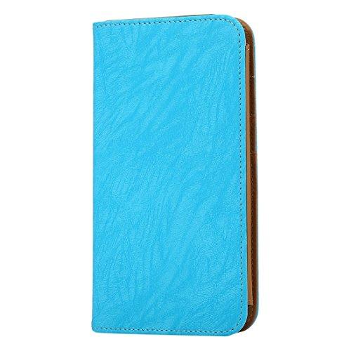 Wkae Case Cover Mappen-Art-Horizontal Flip-Ledertasche mit Foto-Rahmen und Karten-Slots und Brieftasche &Lanyard für Samsung Galaxy S7 / iPhone 6 / Sony Xperia Z5 / Huawei Honor 7i ( Color : Magenta ) blau