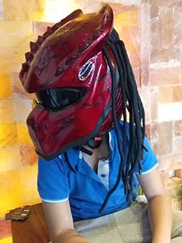 PREDATOR-Look mit Dreadlocks Original Skullhelmet Showhelmet New Collection Helmet Biker Show Helme Size M/L Crazy Helm Casco ()