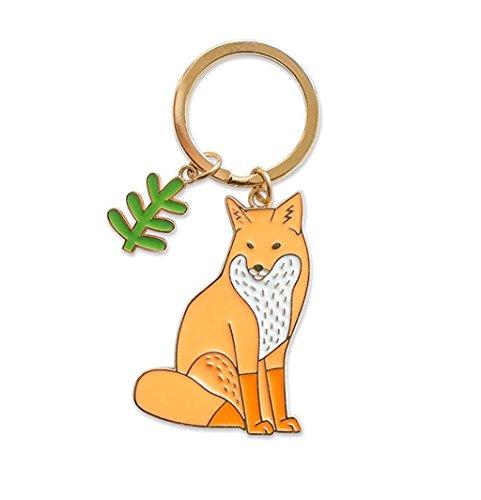 Sucolin Animale Renard Porte-clés Métal Orange Petits Cadeaux pour Enfants et Femme