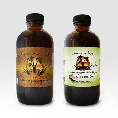 Jamaican black castor oil extra dark 8oz & extra virgin organic coconut oil 4oz by Sunny Isle JBCO