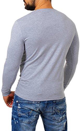 Young&Rich Herren Longsleeve Rundhals Ausschnitt Langarm Shirt Einfarbig Slimfit mit Stretchanteilen Uni Basic Round-Neck Tee Grau