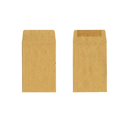 100 Stück - Kleine Papiertüten aus Kraftpapier (braun, 10 x 6,2 cm, nassklebender - Papier-münzen-beutel