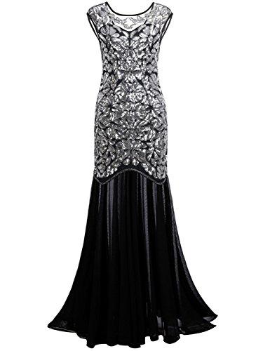 Kayamiya Damen 1920er Jahre Perlen Pailletten Floral Maxi Lange Gatsby Flapper Abendkleid 44-46 Silber