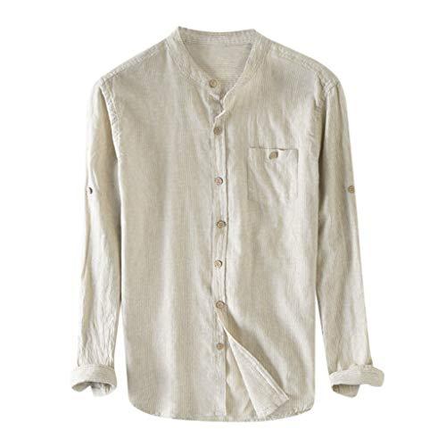 SHE.White Herren 100% Baumwolle Hemd Langarm Streifen Tunika Roll up Sommer Casual Stehkragen Oberteile mit Knöpfen ()