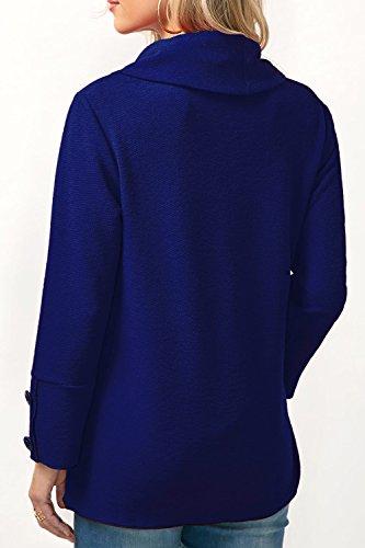 YACUN Le Donne Cowl Collo Asimmetrici Manica Lunga Casacca Felpa. Blue