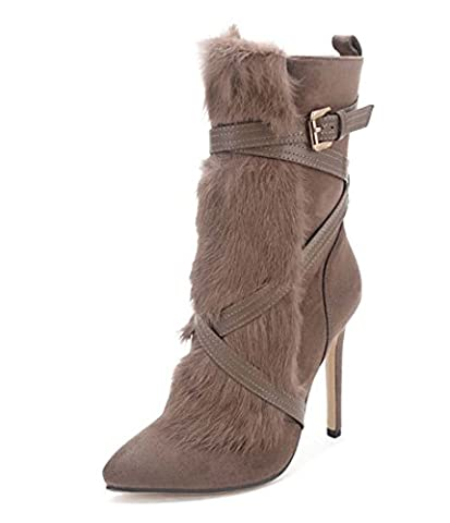 Botte De Cheville Classique Femme Botte À Talon Pointu Kitten Heel Mid Tube Boot Botte De Chemisier En Daim ( Color : Natural , Size : 39 )