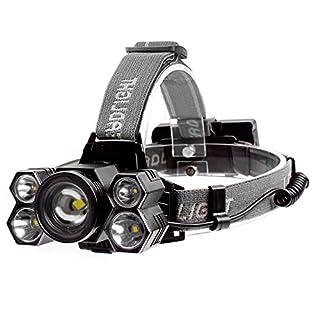 P12cheng LED-Taschenlampe, Stirnlampe, wasserfest, ultrahell, USB wiederaufladbar, 5 Modi, LED-Stirnlampe Mehrfarbig