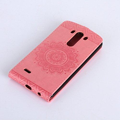 Étui en cuir PU pour LG G3 Mini,Vertical Pliable Rabat Shell pour LG G3 Mini,LG G3 Mini Flip Cover,Ekakashop Etui avec Motif de Rose D'or Mandala Retro Tendance Style Portable Coque de Protection Magn Rose