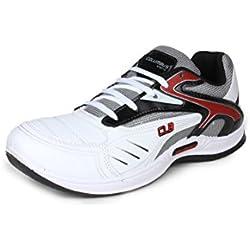 Columbus Men White Black Red Sports Shoes (8 UK)