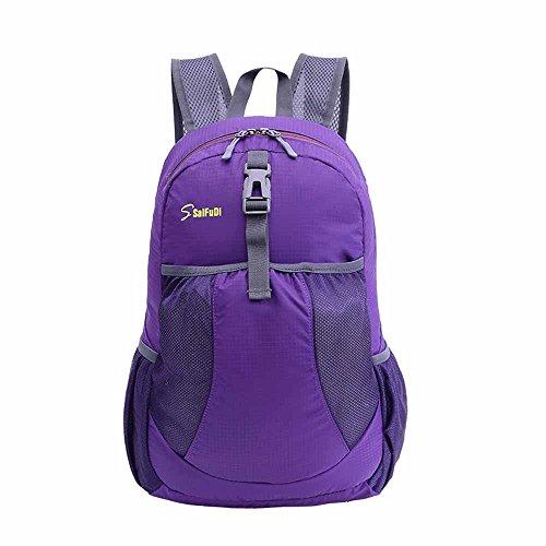 AllureFeng Outdoor-klappbare 30L wasserdichter Rucksack Tasche Männer und Frauen reisen Rucksack Purple