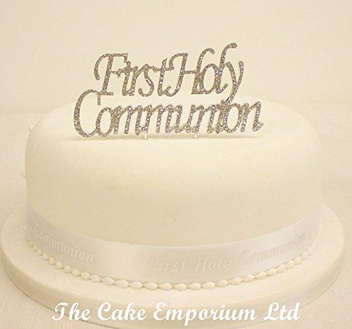 Décoration de gâteau Diamante First Holy Communion Plaque avec ruban de décoration pour gâteau