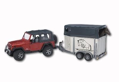 Bruder 02921 Jeep Wrangler Unlimited - Vehículo con remolque para caballos (incluye 1 caballo) por Bruder