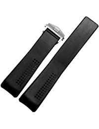 20/18 mm Watch Silicon Straps Black Rubber with TAG Heuer Logo Alongside to Fit TAG HEUER