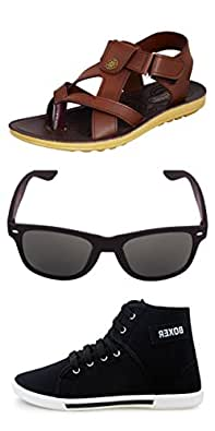 Rushaimi Boxer Shoes And Link Sandals And Black Wayferar Sunglasses For Boys/Men