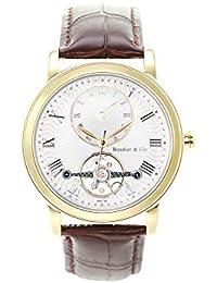 Boudier & Cie B15H7- Reloj analógico de pulsera para hombre (automático), correa de cuero café/marrón