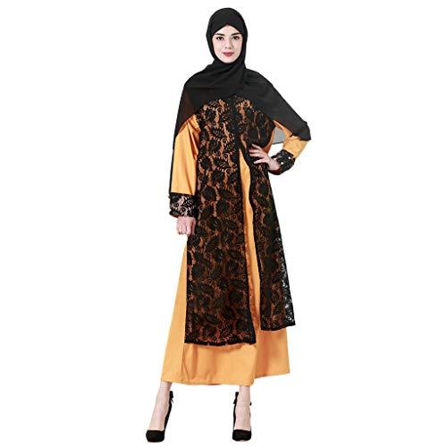 ALISIAM Langes Maxikleid der islamischen Frauen Islamic Cocktail Lace Robe Langarm Plus Größe Frauen Muslimischen Maxi Dress Loose Kaftan Dubai Islamische ()