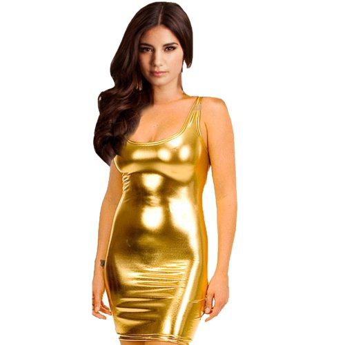 finejo-womens-synthetic-leather-metallic-wetlook-clubwear-mini-dress-gold