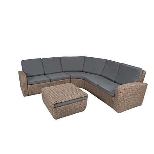 greemotion Rattan-Lounge New York - Gartenmöbel-Set 4-teilig aus ...