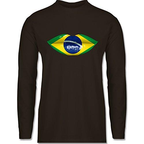 Shirtracer Länder - Lippen Bodypaint Brasilien - Herren Langarmshirt Braun