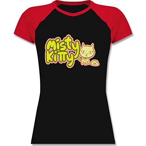 Katzen - Misty Kitty - zweifarbiges Baseballshirt / Raglan T-Shirt für Damen Schwarz/Rot