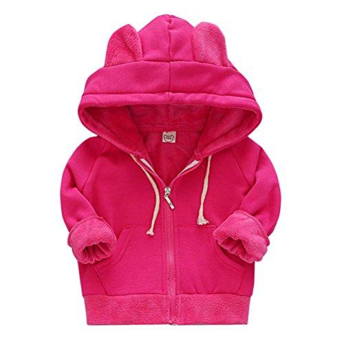 Heiße Rosa Mantel (Hffan Mode Mädchen Jungen Lange Ärmel Kapuzenpullover Warm Winter Mantel Kinder Jacke übergangsjacke übergangsjacke kleinkind Sweatjacke mit Kaputze (2-6Jahre) (2-3 Jahre, Heißes Rosa))