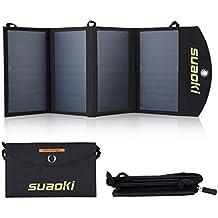 SUAOKI - 25W Cargador Panel Solar Placa Solar Plegable (Doble Puertos USB para Moviles,