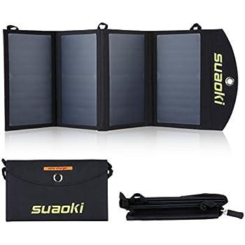 Suaoki 25W Solar Panel Ladegerät mit 2 Ports, Solar Ladegerät 5V 4A Max pro Ausgang für iPhone 7, iPad, Kindle, Lautsprecher, faltbares Ladegerät für Aktivitäten im Freien wie Camping, Wandern
