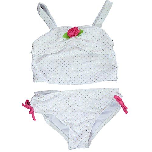 Penelope Mack Kinder Mädchen Bikini Weiß Gold Punkte Rosen UPF50+ UV Sonnenschutz 98-104 (Uv-disney Bademode Baby)