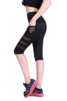 BLINKIN Mesh Yoga Gym and Active Sports Fitness Black Leggings Capri Tights for Women Girls (8700-Black)