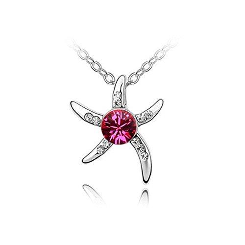 Collier étoile de mer cristal swarovski elements plaqué or blanc Rose Fushia