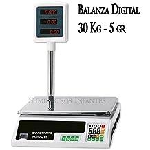 BASCULA de comercio DIGITAL 30 KG de máxima calidad electrónica. Pantalla LED. Graduación: