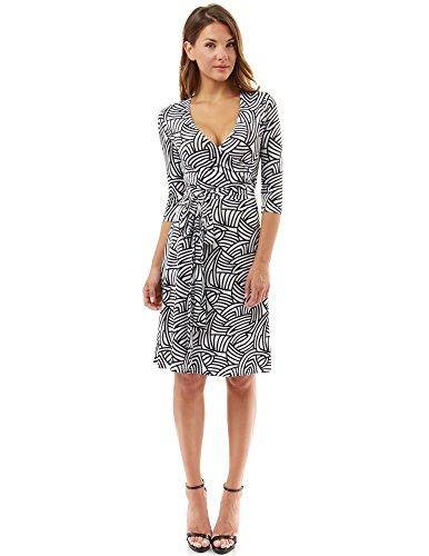 PattyBoutik Damen geometrisches Faux wrap Sonnenkleid mit V-Ausschnitt (schwarz und weiß 08 XL 46) -