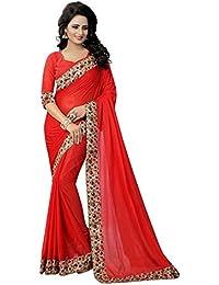 TRYme Fashion Women's Cotton Silk Saree With Blouse Piece (Latest Design Saree T1 _white Pink_Free Size)