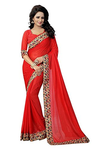 TRYme Fashion Women's Latest Party Wear Saree With Blouse Piece (Reds)