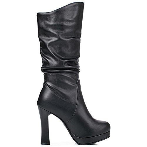 COOLCEPT Femmes Mode Talon Haut Bottes Mid Calf Black