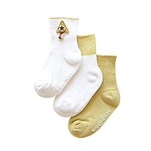 DEBAIJIA 3 Pares de Bebés Antideslizante Calcetines de Algodón Calcetines Elásticos para Niños Niñas 0-5 años Calcetines… 9