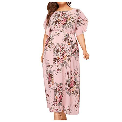 56de1439475b53 iYmitz Damen Übergröße Maxikleid Elegant V-Ausschnitt Kurzarm Kleider mit  Blumen Pailletten Abend Party Netzkleid(X3-Rosa,EU-48/CN-2XL)