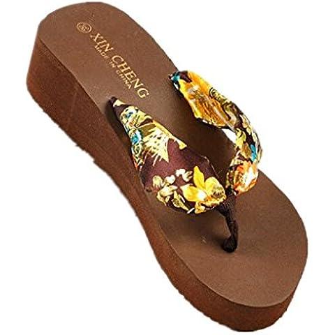 Familizo scarpe donne elegante la moda Boemia floreale Beach sandali con zeppa delle cinghie della piattaforma Pantofole Infradito