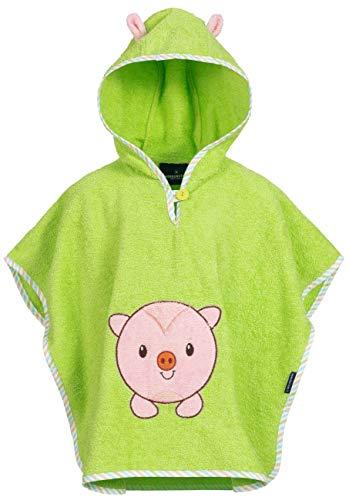 Morgenstern Babyponcho aus Frottier Grün mit Kapuze und Schweinchen Stickerei (Jungen Geschenke Zum Geburtstag Alter 3)