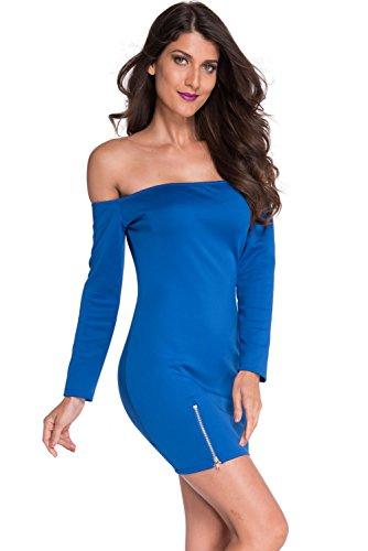 shelovesclothing Damen Schlauch Kleid schwarz schwarz Blau