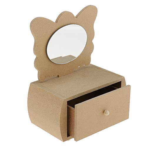 NYLSA Butterfly Unfinished Wooden Jewelry Box with Drawer Mirror for DIY Craft