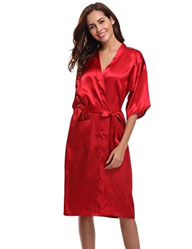 Aibrou Damen Satin Morgenmantel Kimono Lang Bademantel Schlafanzug Negligee Nachthemd Nachtwäsche Unterwäsche V Ausschnitt Mit Gürtel, Gr. M, Farbe: Rot (Bademantel Satin)