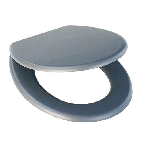axentia WC Sitz Lena mit Deckel-Toilettendeckel mit Brille-Toilettensitz MDF Grau mit Edelstahlscharnieren & Soft Touch Oberfläche, Edelstahl, Anthrazit, 42.5 x 36 x 5.5 cm