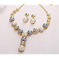 Pearl jewelry set and crystal pieces