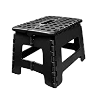 Usmascot Non-Slip Step Stools, Sturdy Safe Enough - Holds up to 160kg - Footstool for Adults or Kids, Folding Ladder Storage/Opens Easy, for Kitchen,Toilet,Camping Folding Step Stool (Black, M)